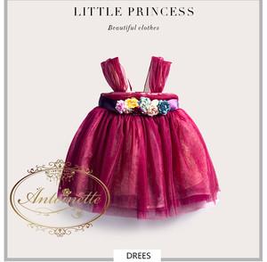 baby dress かわいい ワインレッド 花柄 造花 kids dress チュールドレス