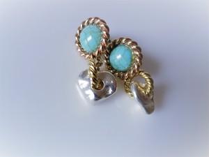 ツイストリング&ナゲットピアス vintage earrings ring <PE2-0120>