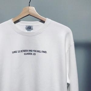 LUKE11:9 トレーナー 白 /  Lサイズ