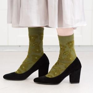 【RORO】bell lily / ベルと百合・ソックス(moss green)
