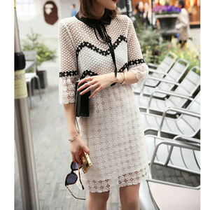 Floral embroidery white dress
