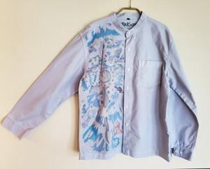 メンズ スタンドカラーシャツ 魚影花火柄ブルーグレー SHI-0010