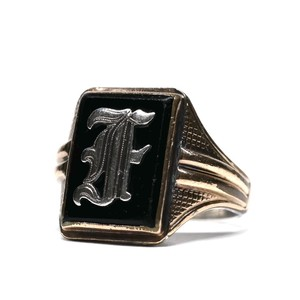 Vintage Ostby Barton Sterling Silver & 10k Gold Initial Ring