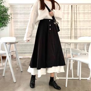 【ボトムス】韓国系すね丈ハイウエストAラインスカート25205547