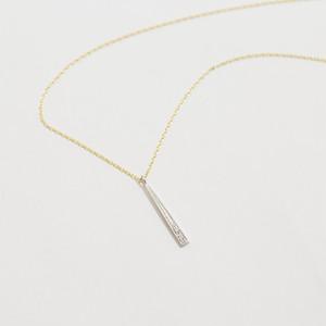 ロッド K10ホワイトゴールド × K10イエローゴールド  ダイヤモンド1ロッドネックレス