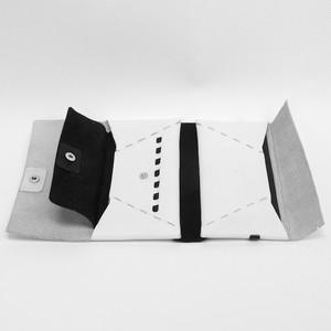 フラップ付きロングウォレット  ホワイト×ブラック  ES-FLW