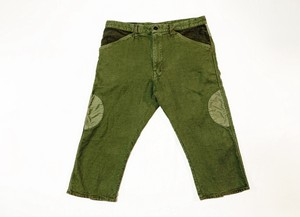 19SS  硫化染め甘り綿麻7分丈パンツ / Sulfide dyeing loose woven cotton linen three quarter pants