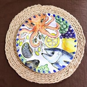 マヨリカ焼き 丸皿(大)  メルカート柄