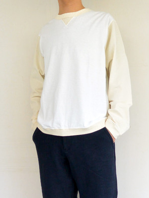 Jackman ジャックマンJM5762 Rib L/ST-Shirt 長袖Tシャツ White×Kinari