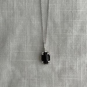Yularice lace necklace gem SV925 Black labradorite