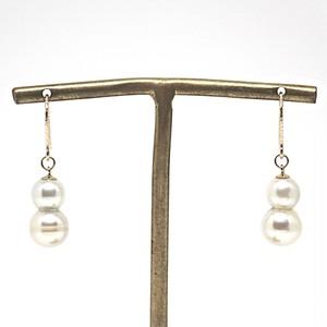 【希少!!】あこや本真珠の双子(ツインパール)のピアスM