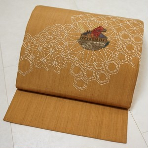 未使用 刺し子刺繍 相良刺繍 洒落袋帯 正絹 節紬 黄唐茶 茶色 201