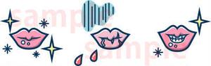 唇のひび割れ・剥け 線青 イラスト素材