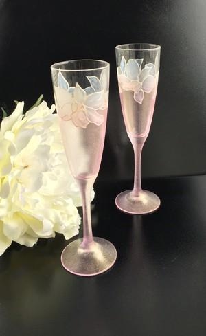 春の花【蘭】香り立つ蘭シンビジュウム シャンパングラス1個/結婚祝い・両親へのプレゼント・母の日ギフト・誕生日プレゼント
