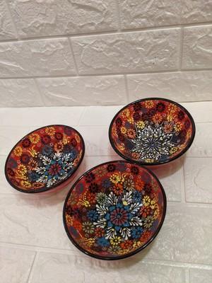 トルコ陶器ボール大 レッド系
