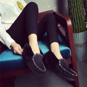 【ブラック】大人気 ムートン モカシン シューズ 靴 H54
