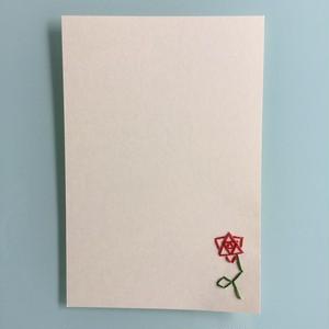 刺繍ポストカード(バラ)