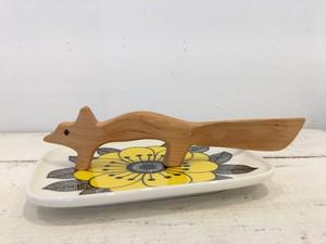 フィンランド 木製バターナイフ きつね