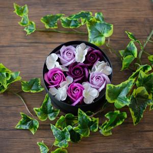 Box【Purple】バスフラワー 入浴剤 プレゼント 誕生日 贈り物 花 サプライズ 母の日ギフト