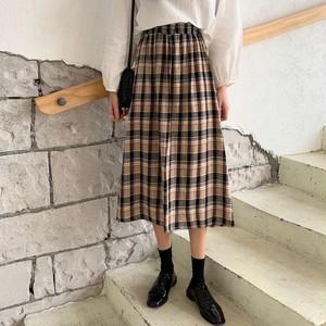 【ボトムス】夏新品レトロハイウエスト細見せチェック柄Aラインスカート