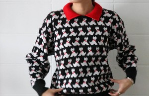 80's dog motif knitted sweater