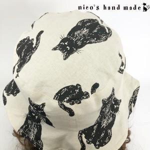 黒猫ムッシュのリバーシブルハット【オフホワイト】