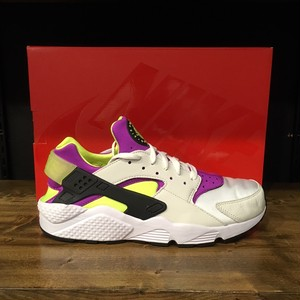 【NIKE】AIR HUARACHE RUN 91 QS WHITE/BLACK-NEON YELLOW (AH8049-101)