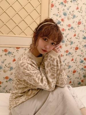 ★【purple残り三点】leopard pastel knit