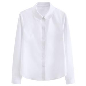 女子スクールシャツ 丸襟 長袖 制服シャツ ワイシャツ 白シャツ 大きいサイズ レディースシャツ 女子高生 JK ブラウス トップス 9202