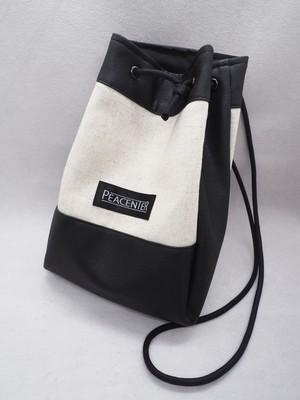 綿麻キャンバス 巾着型ミニバッグ