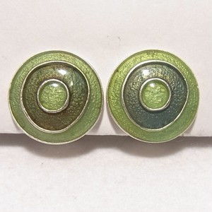 黄緑のエナメルのラウンドイヤリング コスチュームジュエリーのセール通販 5707E