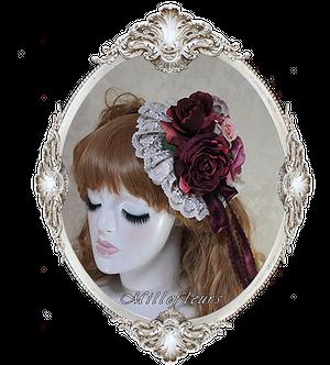 薔薇とレースのヘッドドレス レッド