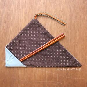 【セット販売】拭き漆の箸+箸袋(ミント×茶ドット) / [SET SALE] CHOPSTICKS & BAG(Mint・Dot)