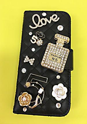 手帳型スマホケースiPhone7 黒No5