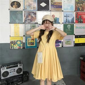 【ワンピース】韓国風ファッション細身効果抜群シンプルラウンドネックカジュアルワンピース21364892