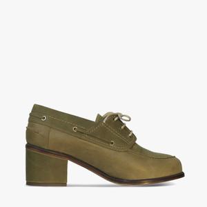 Deux Souliers (サンプルコレクション) - Nautic Semi Heel #1 チャンキーヒールブーティー (オリーブ)  【スペイン】【靴】【シューズ】【インポート】【VOGUE】