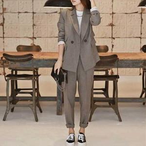 【セット】シンプル長袖折り襟ボタンアウター+カジュアルパンツ33095385