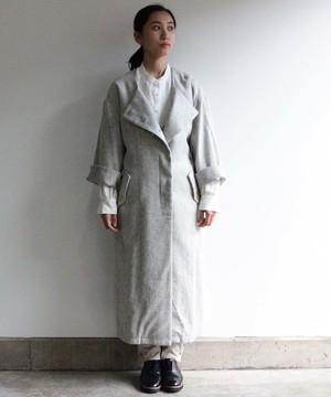 リネンコットン起毛生地のコート GRY