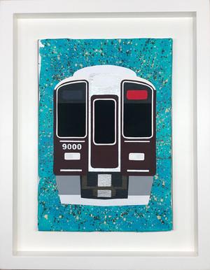 阪急電鉄9000系 オリジナル原画 キャンバスにアクリル絵具