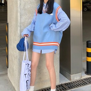 【セットアップ】2点セット新作韓国風配色ベストストライプ柄シャツ