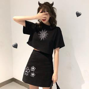 【セットアップ】韓国ファッション半袖Tシャツ+刺繍プリントハイウエストスカート 2点セット