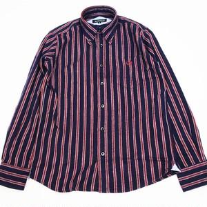 フランネル・レジメンタル・ストライプ・長袖 BD シャツ  NAVY × WHITE × RED