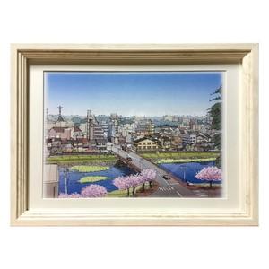 金沢の風景スケッチ絵画(犀川縁桜橋周辺の風景)