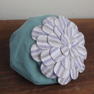 お花ベレー/青緑にストライプのお花 NO.952