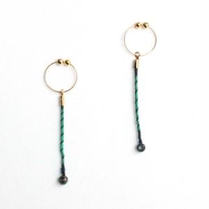ヴァイオリン,ヴィオラ弦のカジュアル Strings endparts earrings (Green × Black)