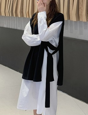 予約注文商品 サイドスリットリボンベスト ベスト ニットベスト 韓国ファッション