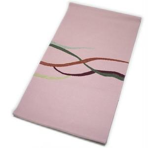 なごや帯 正絹 仕立て上がり 八寸 名古屋帯 紬 変り織 手織袋名古屋帯(ピンク系) [001017k]