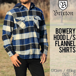 [クリックポスト対応] BRIXTON ブリクストン BOWERY HOOD L/S FLANNEL SHIRTS フード付きフランネルシャツ 01126 BKBLU