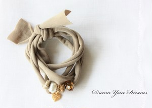 Stretch Ribbon Bracelet /Mocha ブレスレット