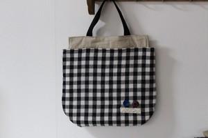 アンティークリボンとギンガムチェックのバッグ